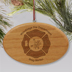 Engraved Fire Department Wooden Oval Ornament - Tressa Gifts