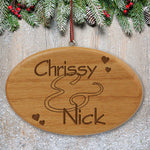 Engraved Couples Wooden Oval Ornament - Tressa Gifts