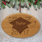 Engraved Class of Wooden Oval Ornament - Tressa Gifts
