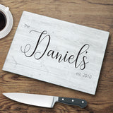 Personalized Modern Farmhouse Glass Cutting Board - Tressa Gifts