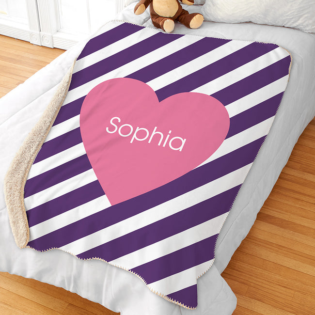Personalized Stripes and Hearts Kids Sherpa Blanket