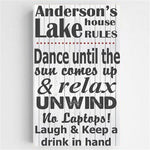 Lake House Rules Canvas Sign - Tressa Gifts