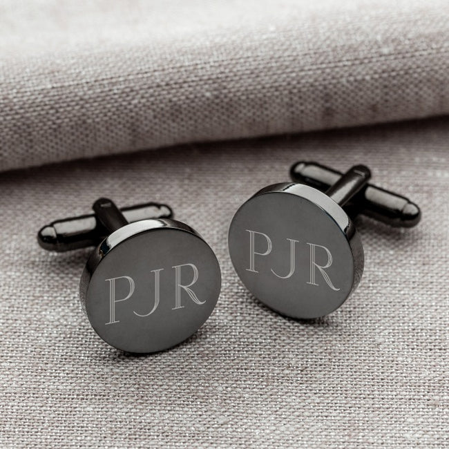 Personalized Gunmetal Round Cufflinks - Tressa Gifts