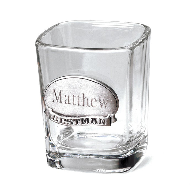 Personalized Shot Glass w/Pewter Medallion - Tressa Gifts