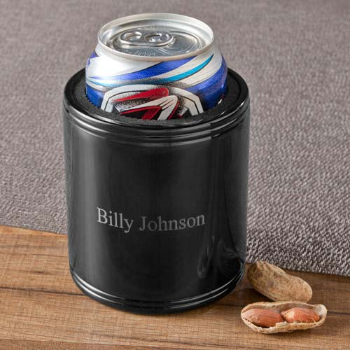 Personalized Black Metal Can Koozie - Tressa Gifts