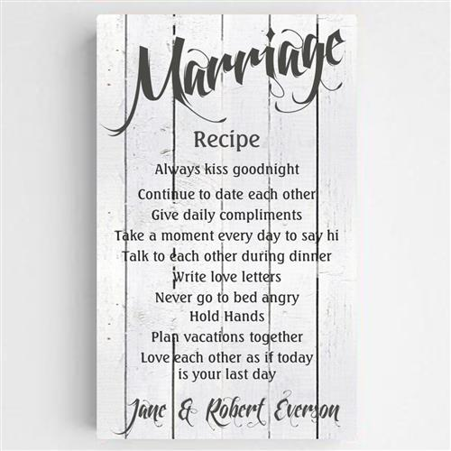 Marriage Recipe Canvas Sign - Tressa Gifts