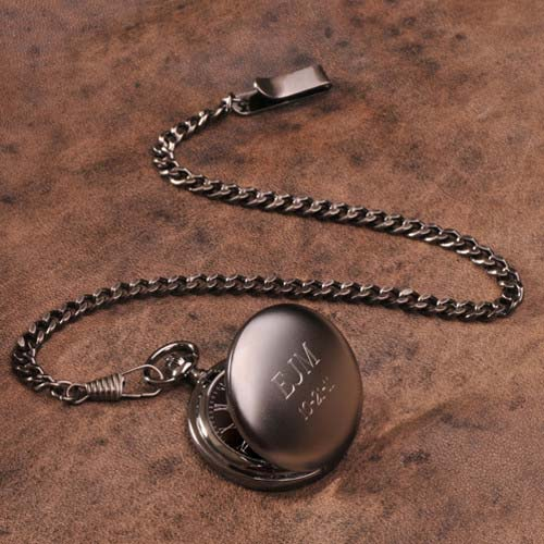 Personalized Gunmetal Groomsmen Pocket Watch - Tressa Gifts