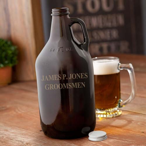 Personalized Amber Growler - Tressa Gifts
