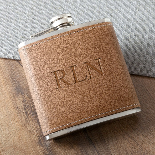 Personalized Tan Hide Stitched Flask - Tressa Gifts
