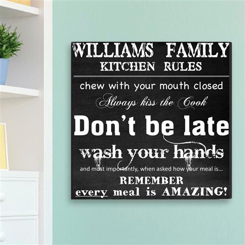 Family Kitchen Rules Canvas Sign - Tressa Gifts