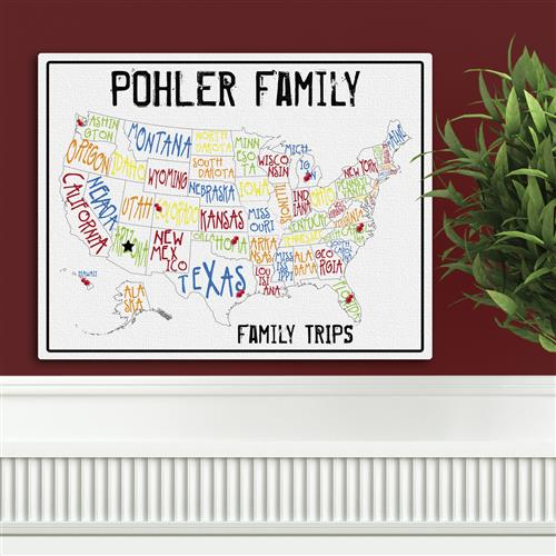Family Travel Map Canvas Sign - Tressa Gifts