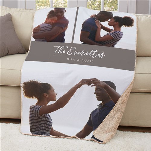 Personalized 2 Line Photo Sherpa Blanket