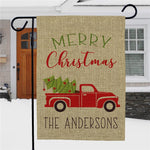 Personalized Merry Christmas Truck Burlap Garden Flag - Tressa Gifts