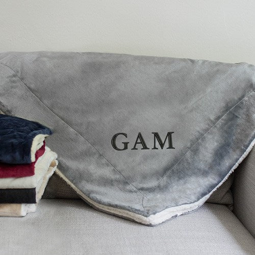 Embroidered Initials Sherpa Blanket