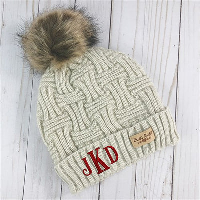 Personalized Monogram Cable Knit Hat