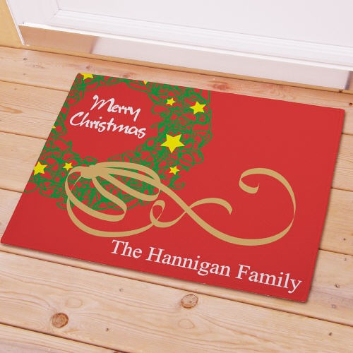 Personalized Christmas Wreath Doormat - Tressa Gifts