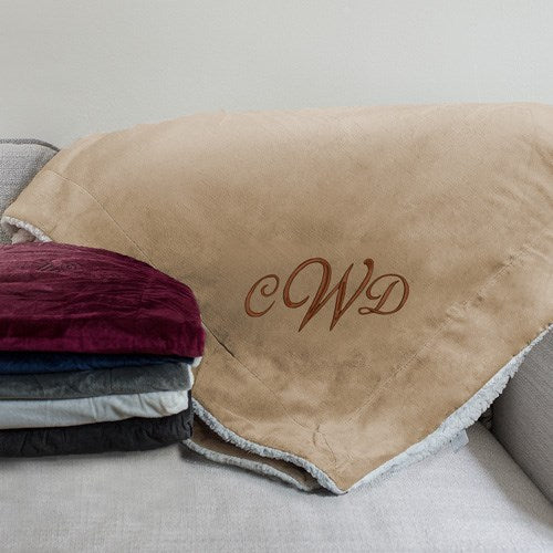 Initials Embroidered Sherpa Blanket