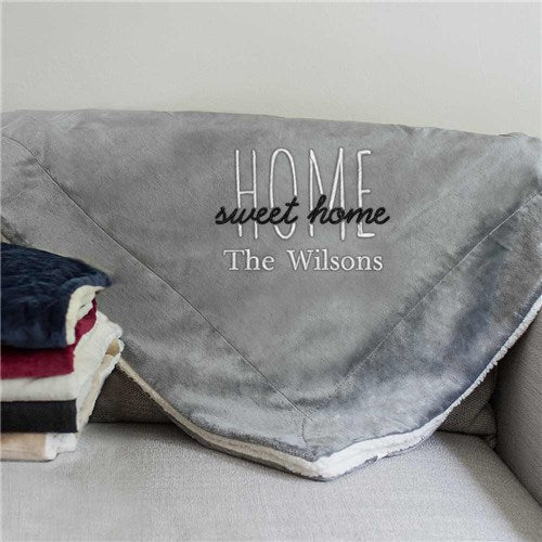 69ad299e7b14 Personalized Home Sweet Home Sherpa Blanket - Tressa Gifts