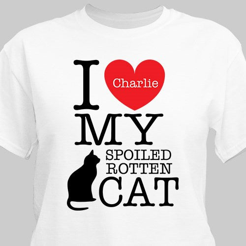 Personalized I Love My Spoiled Cat T-Shirt - Tressa Gifts