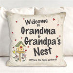 Personalized Welcome Grandma & Grandpa's Nest Throw Pillow - Tressa Gifts