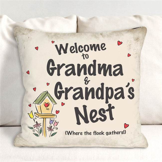 Personalized Welcome Grandma & Grandpa's Nest Throw Pillow