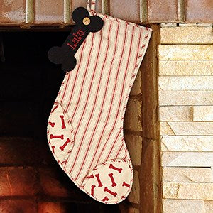 Embroidered Striped Dog Bone Stocking - Tressa Gifts