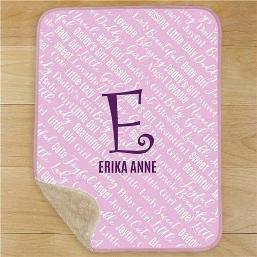 Personalized Baby Name Sherpa Baby Blanket