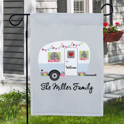 Personalized Floral Family Camper Garden Flag - Tressa Gifts