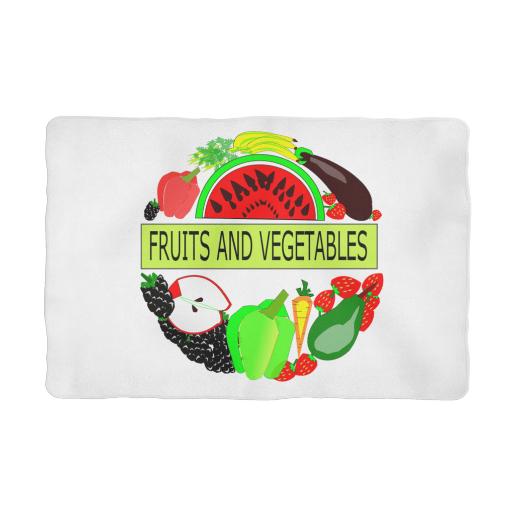 Polar Cuddle Fleece Fabric Fruits And Vegetables Design Pet Blanket