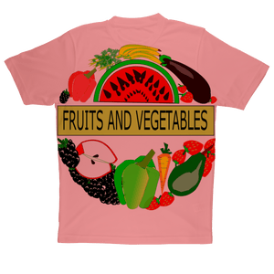 Gorgeous Polyester Crew Neck Fruits And Vegetables Design Adult Children T-Shirt