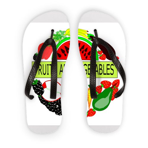 Comfortably Fruits And Vegetables Design Kids Flip Flops