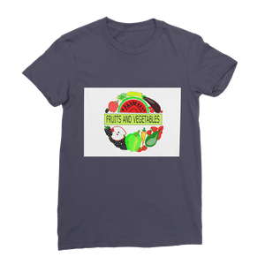 Round Collar Fruits And Vegetables Design Jersey Women's T-Shirt