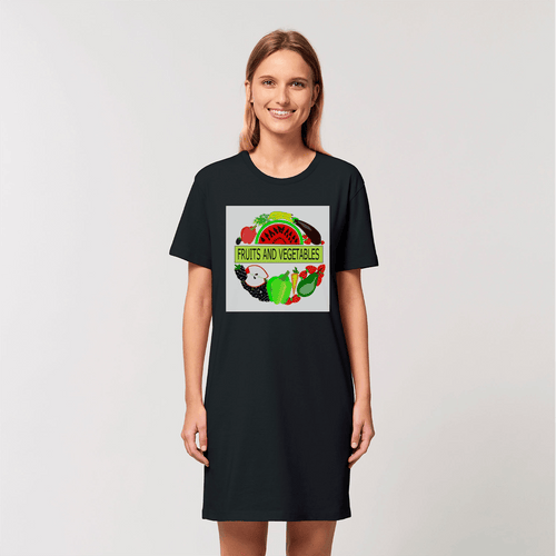 Women's Fruits And Vegetables Design Cotton T-Shirt Dress
