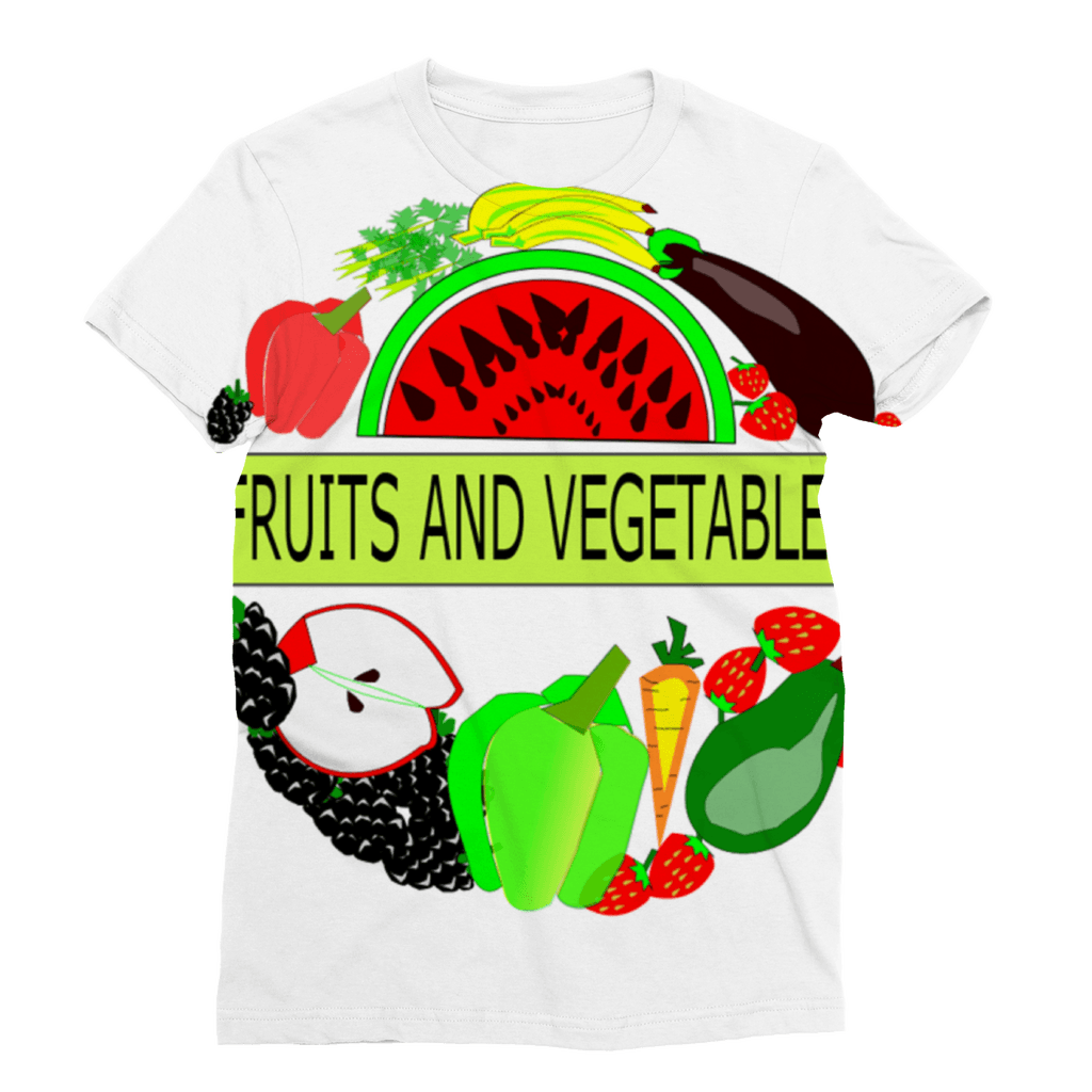 Lovely Crew Neck Fruits And Vegetables Design Women's T-Shirt