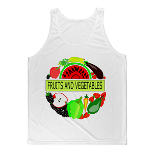 Soft Cotton Sleeveless Fabric Fruits And Vegetables Design Adult Tank Top