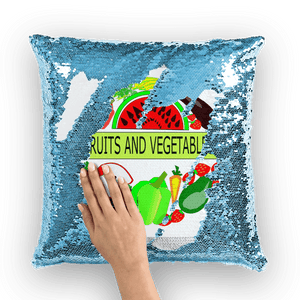 Gorgeous Home Decor Fruits And Vegetables Design Sequin Cushion Cover