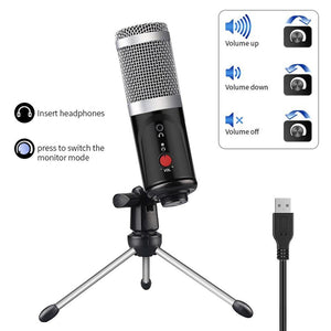 Condenser Microphone computer USB Port Studio Microphone For pc Sound Card Professional Karaoke Microphones DJ Live Recording