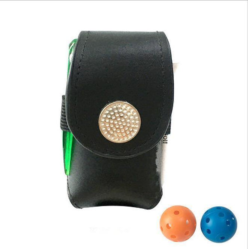 Portable Golf Ball Holder with 2 Trainning Balls Waist Pouch Bag Leather Anti-dust Golf Tee Bag Small Golf Ball Bag Parts Hot
