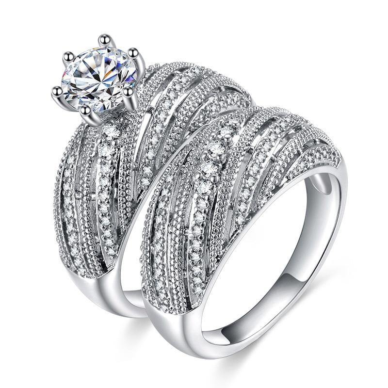 silver color luxury brand wedding ring set for female women bride engagement anniversary gift for Ladies jewelry r4991