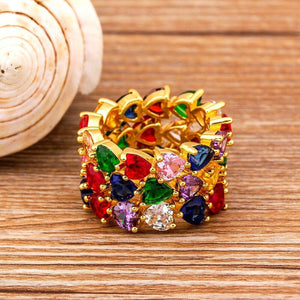 Hot Sale Heart Shape Rainbow CZ Gold Ring For Women Fashion Engagement Wedding Band Top Quality Charm Jewelry For Lovers Gift