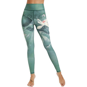 Women Yoga Pants 3d Flower Printing Compression Elasticity Fitness Sports Long Active Leggings Tights Girl Running Sportswear