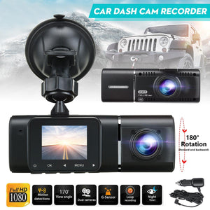 1.5 Inch  LCD Screen 1080P Dual Wide Angle Lens Car DVR Dash Cam IR Night Vision Front & Inside Camera HD Video Recorder