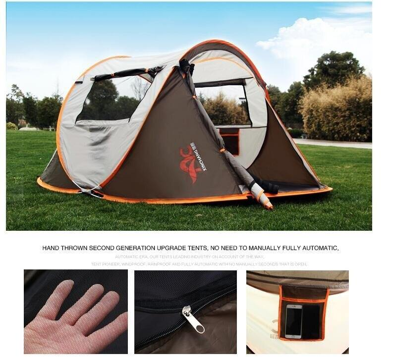 Ultralight Large Camping Tent for 3-4 People, Waterproof Windproof Shelter, Automatic Travel and Hiking Tents, 280x200x120cm