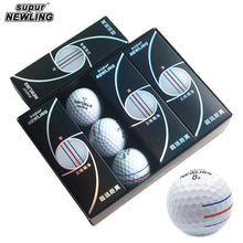 12pcs/box supur NEWLING Golf Ball with retail package 3 colour full aim lines 3-piece golf game ball Super Long Distance