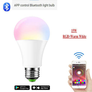 Dimmable E27 LED Lamp RGB 15W WIFI Smart Bulb Bluetooth APP Control  5W 10W IR Remote Control Colore Light Bulb 85-265V For Home
