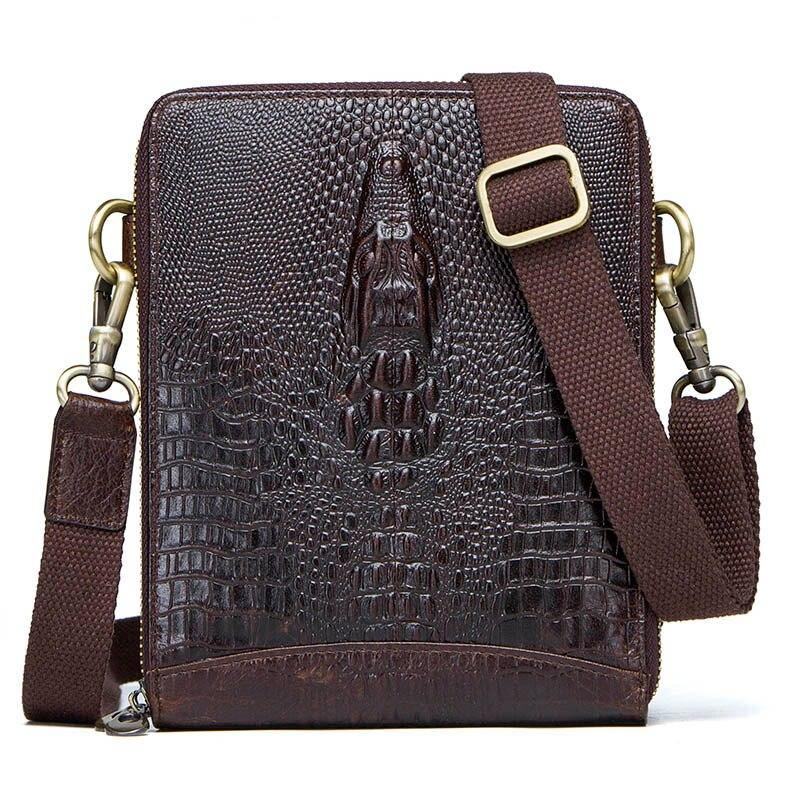 Men's Genuine Leather messenger bag Vintage Shoulder Bags Crocodile Crossbody Bags for men with Mobile Phone Pouch Waist Bag