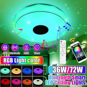 36W/72W RGB LED Music Ceiling Light bluetooth Speaker Lamp Home Party Bedroom 170-265V Remote Dimmable+APP Smart Colorful Light