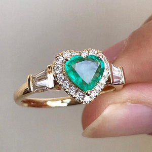 Fashion Heart Shape Green Stone Ring Luxury Zircon Band Promise Love Wedding Engagement Rings Jewelry For Women Gifts