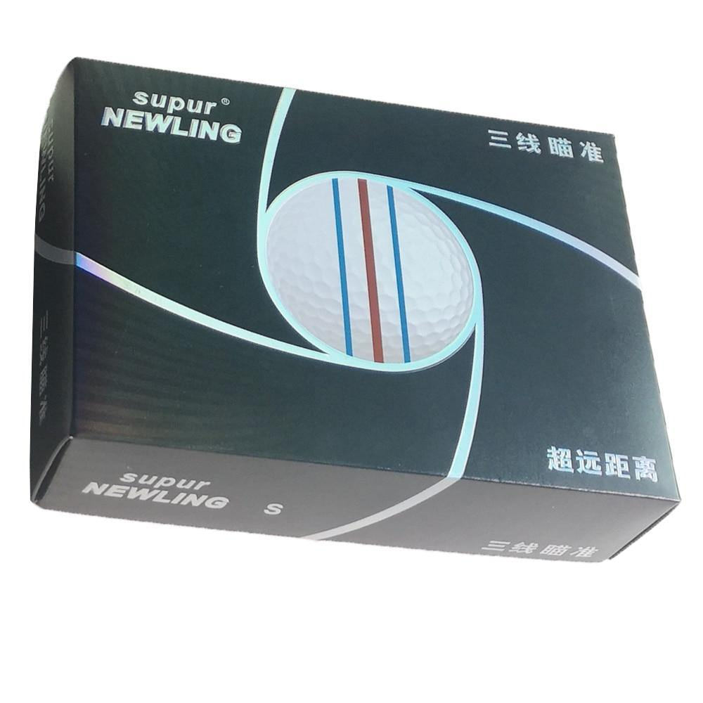 12pcs/box supur NEWLING Golf Ball with retail package 3 colour full aim lines 3-piece golf game ball Super Long Distance (1box of golf ball)