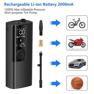 Car Electrical Air Pump Mini Portable Wireless Tire Inflatable Pump Inflator Air Compressor Pump for Car Motorcycle Bicycle ball